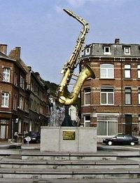 Statue in Honour of Adolphe Sax in his home town of Dinant, Belgium